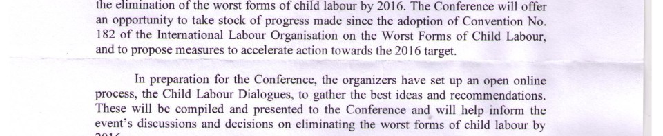 Letter From Child Labor Against Child Labor